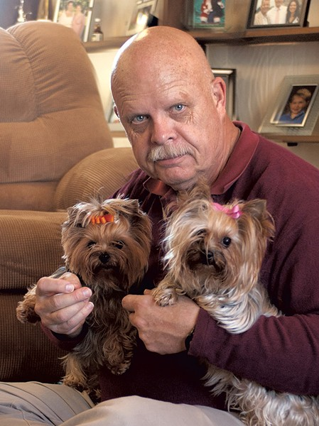 Ed Cashman with his wife's Yorkies - COURTESY OF ED CASHMAN