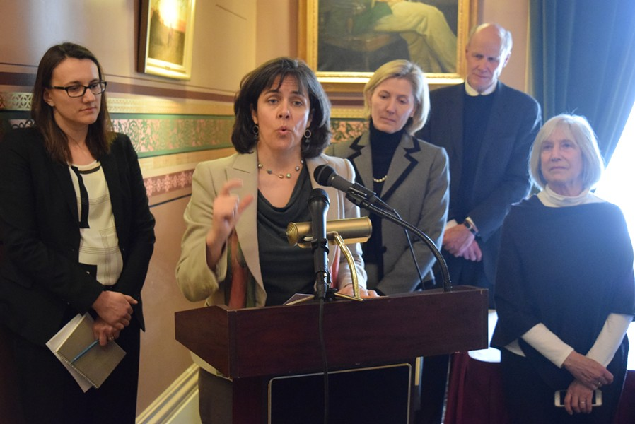 House Speaker Mitzi Johnson (D-South Hero) joins other House leaders at a Statehouse press conference Wednesday. - TERRI HALLENBECK