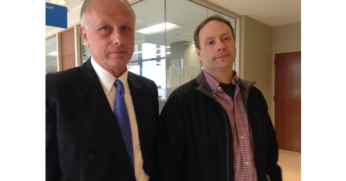 Attorney Bill Norful, left, and Dan Emmons at Vermont Superior Court in Burlington Thursday - MOLLY WALSH