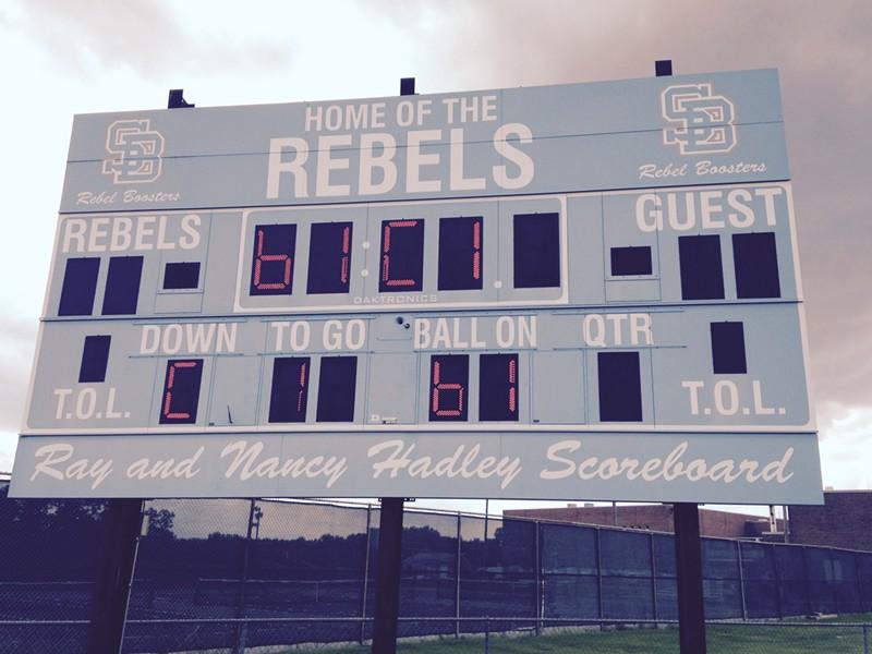 The Rebels scoreboard at South Burlington High School - MOLLY WALSH/SEVEN DAYS