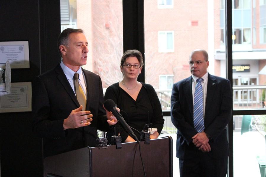 Former governor Peter Shumlin (left) with Robin Lunge and Lawrence Miller - FILE: PAUL HEINTZ