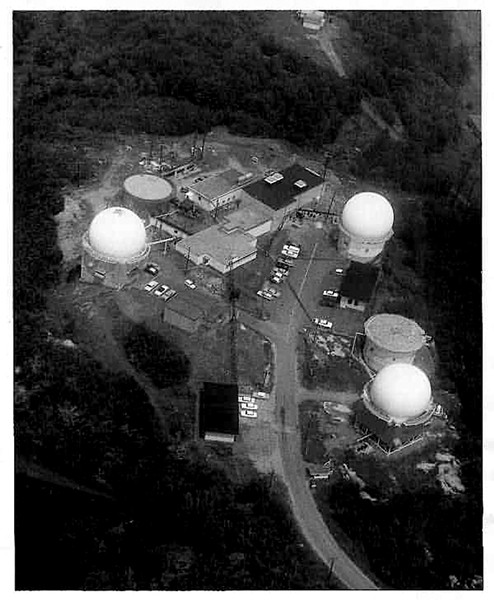 Undated aerial photograph of the Saint Albans Air Force Station - COURTESY OF AIR FORCE RADAR MUSEUM ASSOCIATION