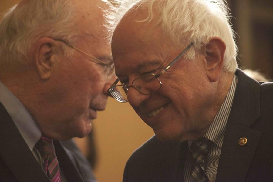 Sens. Patrick Leahy and Bernie Sanders - FILE: MATTHEW THORSEN