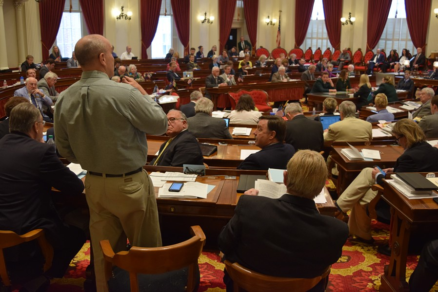 Rep. Tom Burditt (R-West Rutland) speaks in support of a marijuana legalization bill Wednesday on the House floor. - TERRI HALLENBECK