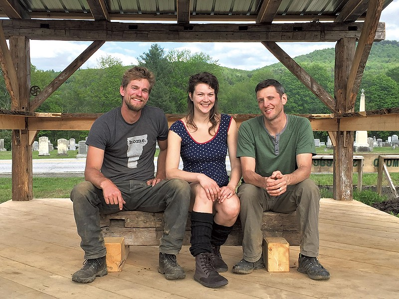 Left to right: Worcester Farmers Market organizers Kyle Devitt, Amanda Franz and Ryan Leclerc