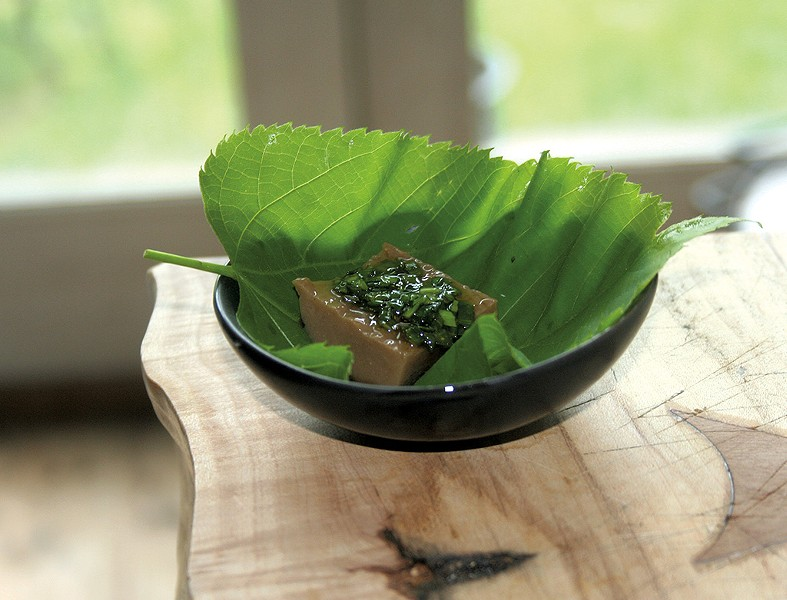 Acorn jelly in a basswood leaf - SUZANNE PODHAIZER