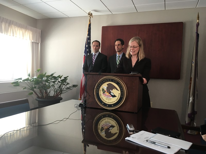 Acting U.S. Attorney Eugenia Cowles announced a settlement with eClinicalWorks during a press conference Wednesday in Burlington. - MARK DAVIS