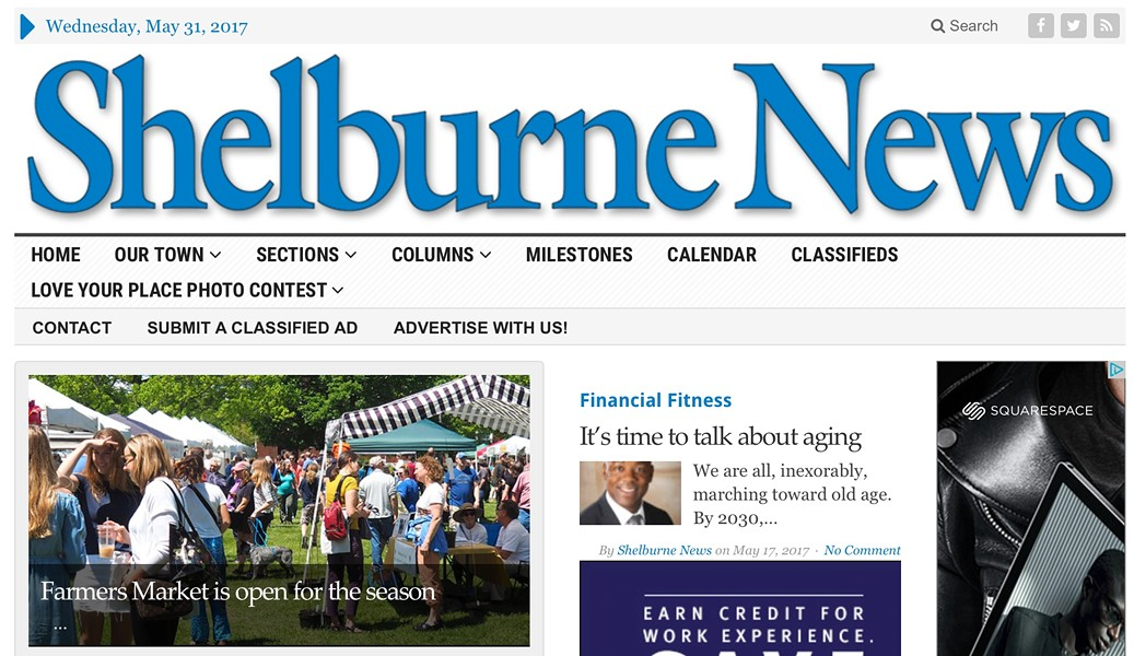 Shelburne News homepage - SCREENSHOT