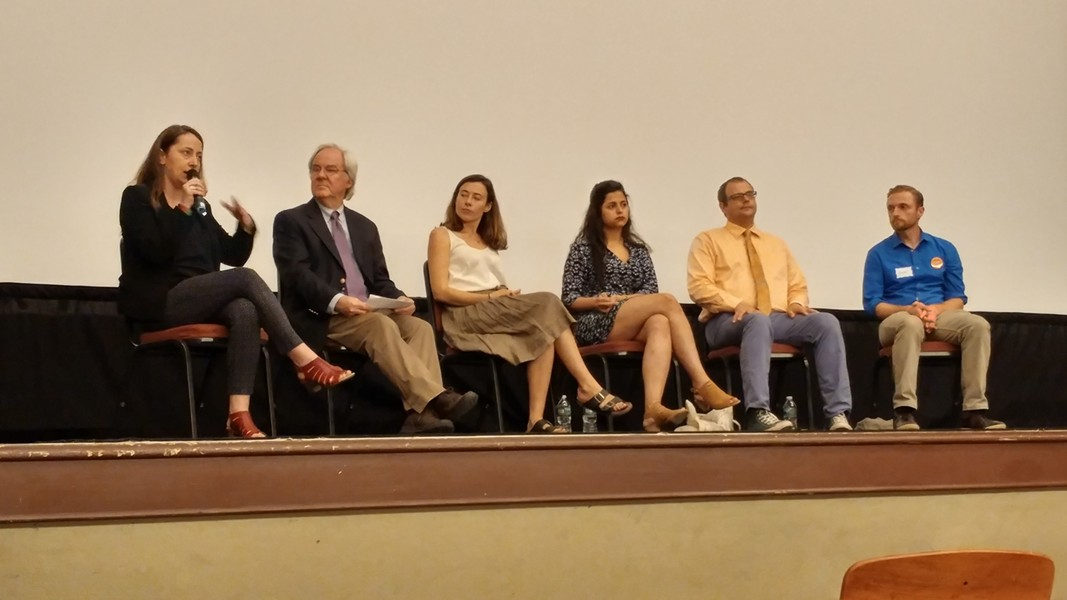 Members of panel discussion, left to right: Amila Merdzanovic, David Moats (moderator), Amanda Bailly, Sana Mustafa, William Notte, Hunter Berryhill - NATE ORSHAN