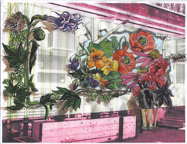 Mural concept by Kathryn Wiegers for Green State Gardener - COURTESY OF GREEN STATE GARDENER