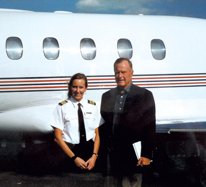 Jennifer Hoy with president George H.W. Bush, circa 1998 - COURTESY OF JENNIFER HOY