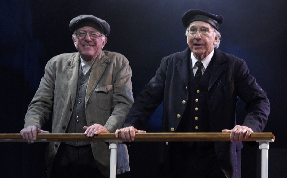 "Sen. Bernie Sanders (left) and Larry David on ""Saturday Night Live"" - SCREENSHOT"
