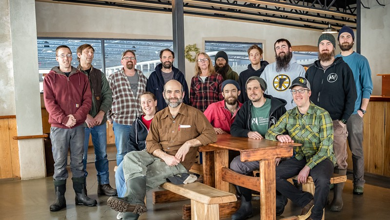 The team at Hill Farmstead, founder Shaun Hill standing fourth from left
