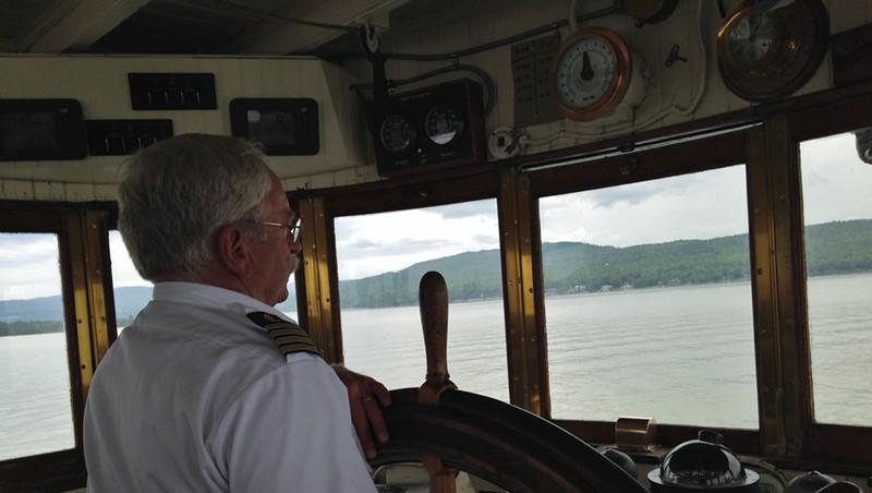 Captain Steve Pond approaching Port Kent, N.Y.
