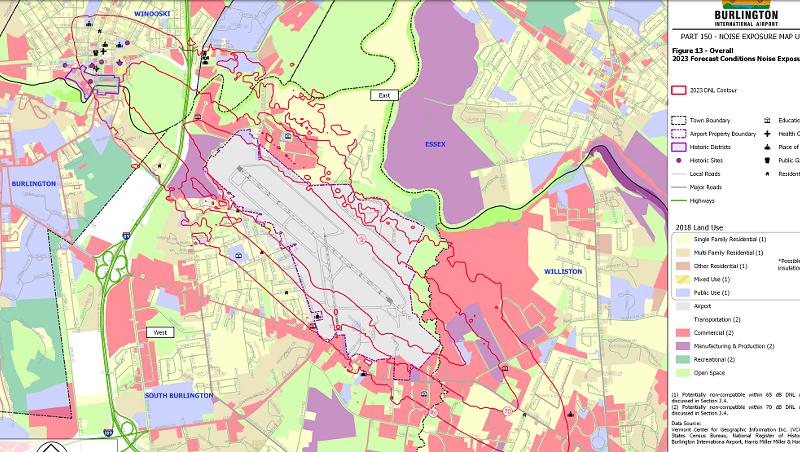 The Burlington International Airport draft noise exposure map report