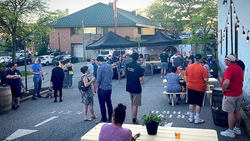 Beer garden at site of former bank in Winooski