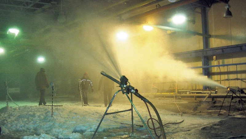 Testing snow guns at the Cold Regions Research and Engineering Laboratory.