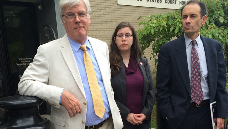 From left, Attorney John Franco, Vermont Progessive Party executive director Kelly Mangan and former lieutenant governor candidate Dean Corren outside U.S. District Court in Burlington
