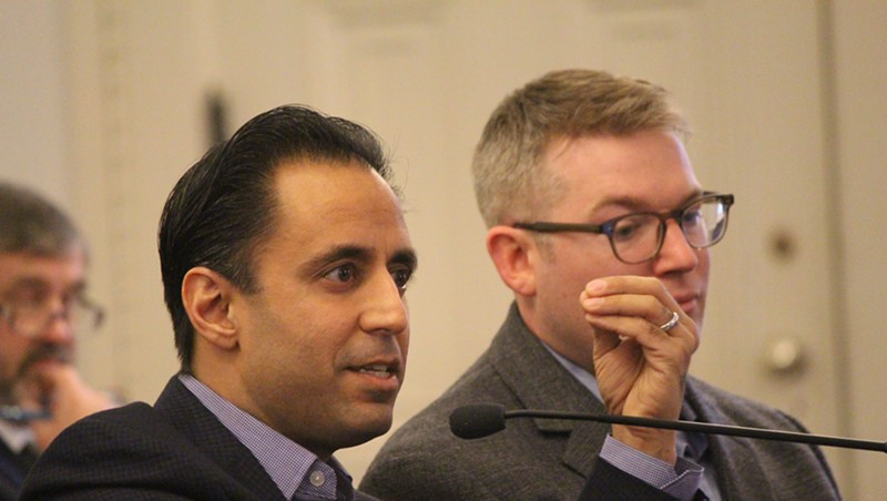 Deepak Malhotra and Michael Luca of Harvard Business School testifying Thursday at the Vermont Statehouse