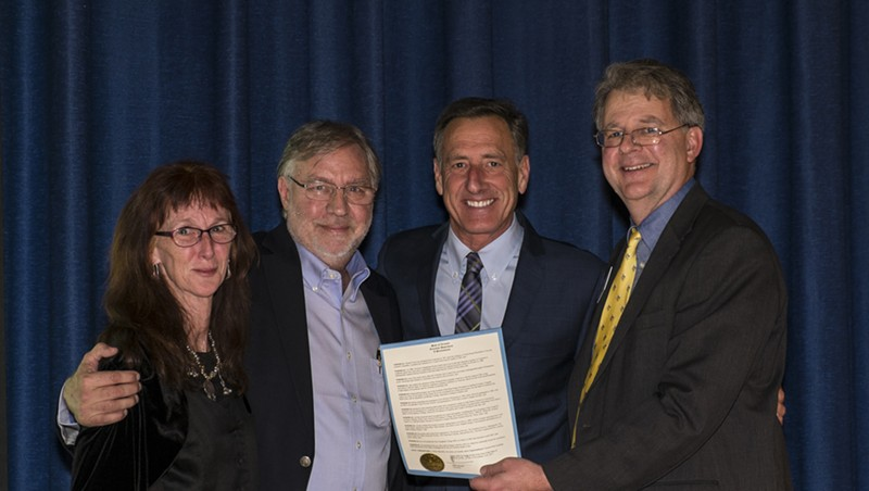 Chard deNiord, new Vermont Poet Laureate, with his wife, Liz, Gov. Peter Shumlin and Vermont Arts Council executive director Alex Aldrich