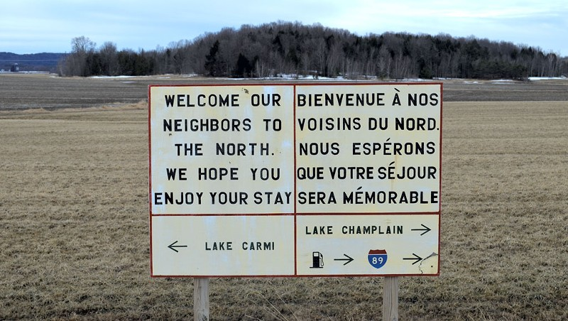 A sign near the border