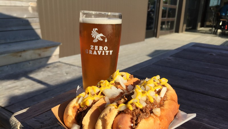 Coney Island hot dogs and beer at Zero Gravity