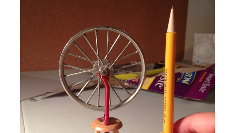 """Miniature of Marcel Duchamp's """"Bicycle Wheel"""" readymade by Andrea Rosen"""