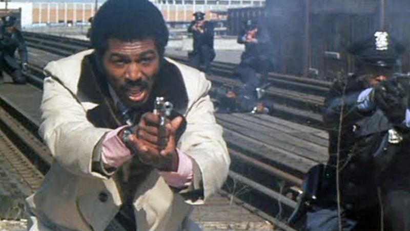 Hari Rhodes in the climactic scene of Detroit 9000