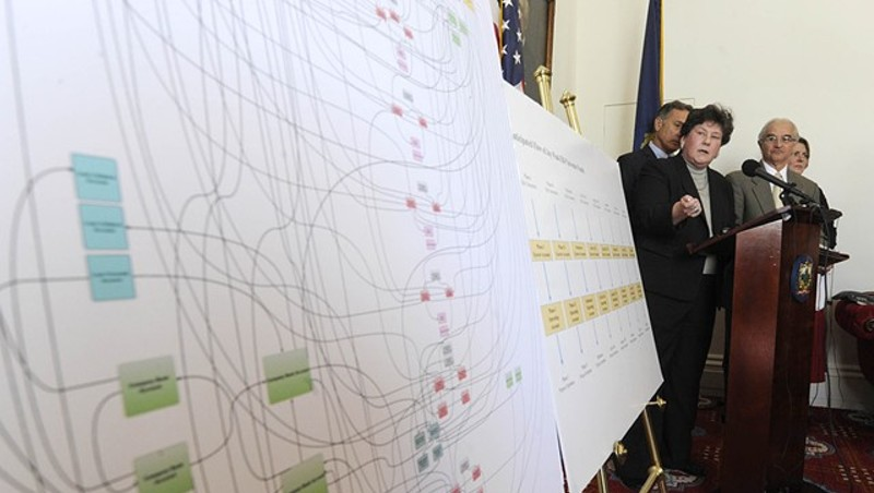 In 2016, then-Department of Financial Regulation commissioner Susan Donegan pointing to a chart detailing suspected EB-5 fraud