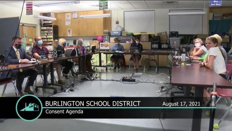 Screenshot of the Burlington school board