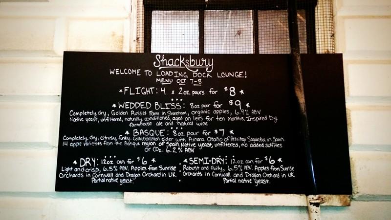 Menu at Shacksbury Cider's tasting room