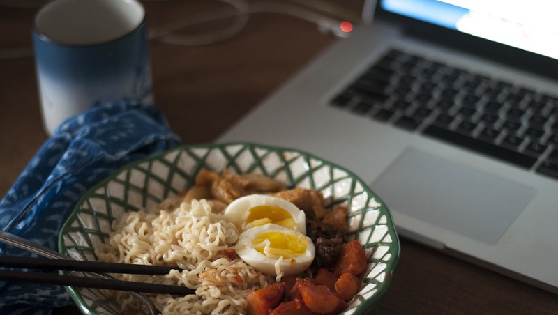 Breakfast ramen with kimchi and egg