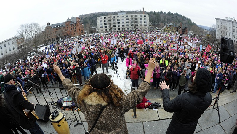 Photos From the Women's March on Montpelier Crowds gather at the Statehouse during the Women's March on Montpelier. Jeb Wallace-Brodeur