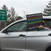 Photos From the Women's March on Montpelier A person in a car stuck in I-89 traffic shows support. Jeb Wallace-Brodeur