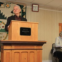 Town Meeting Day in Kirby John McClaughry presided over his 51st consecutive town meeting. Nancy Piette