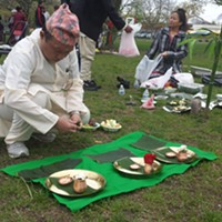 Sansari Puja and Buddha Jayanti Festivities In Burlington In May 2017 Preparing offerings for the deities Kymelya Sari
