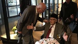 Sen. Patrick Leahy (D-Vt.) and Antonio Pomerleau on Sunday at the Hilton Burlington