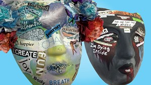 """A recovery mask by Sara Glasgow and an addiction mask by """"Anna"""""""
