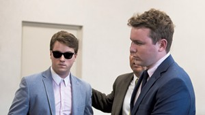 Wesley Richter, left, at Vermont Superior Court in Burlington in October