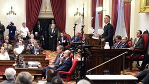 Gov. Phil Scott addressing the legislature