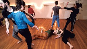 A contact improv class at the Everything Space