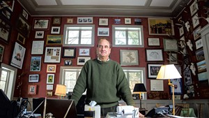 Skip Vallee in his home library