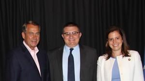 Jack Moulton, center, with former U.S. House speaker John Boehner and Rep. Elise Stefanik