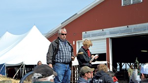 Ron Wright auctioning off farm equipment