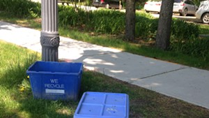 Recycling bins by the curb on Lake Street in Burlington
