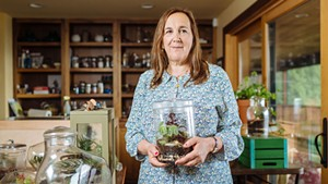 Susan Goldstein and her Muddy Toes terrariums