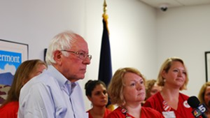 Sanders with union vice president Deb Snell and lead negotiator Julie MacMillan