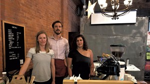 Left to right: Nomad Coffee owners Nicole Grinstead and Andrew Sepic with chef Suzanne Podhaizer