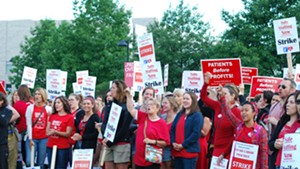 Nurses were up early to rally outside the hospital.