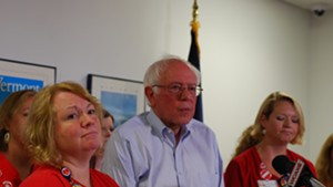 Deb Snell (left) and Julie MacMillan at a press conference with Sen. Bernie Sanders